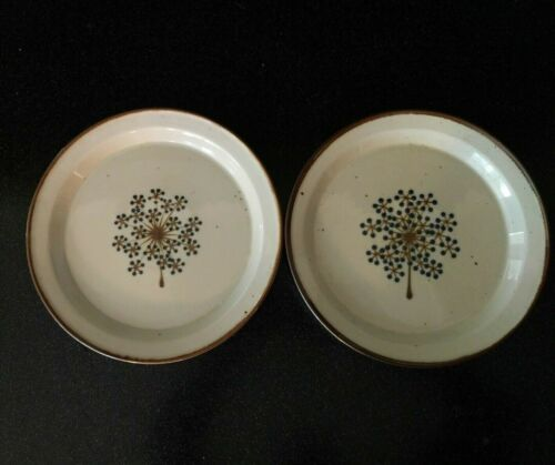 2 Vintage DANSK  BLUE LINDEN DINNER PLATES DENMARK DANISH MODERN BROWN MIST