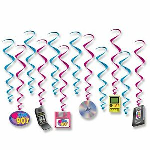 I-LOVE-THE-90-039-S-PACK-OF-12-HANGING-WHIRLS-PARTY-DECORATIONS
