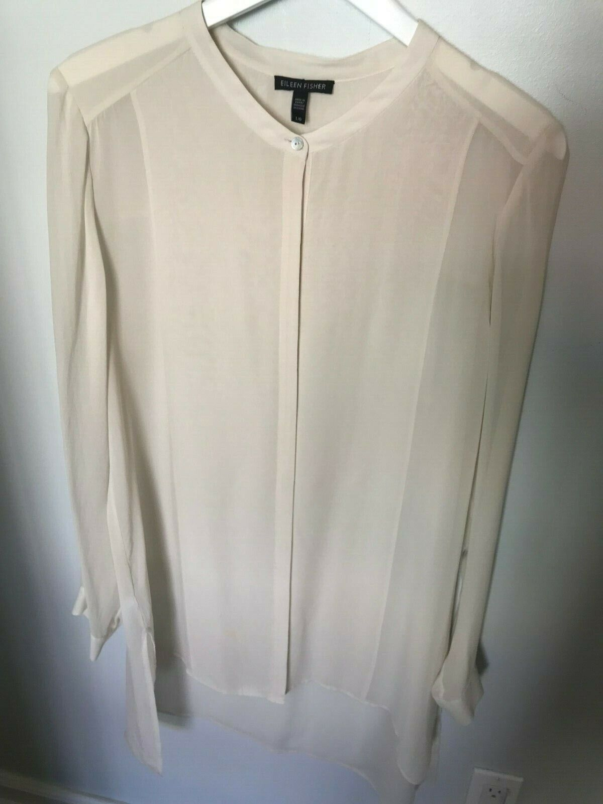Eileen Fisher Ivory Long Button Tunic - Größe L