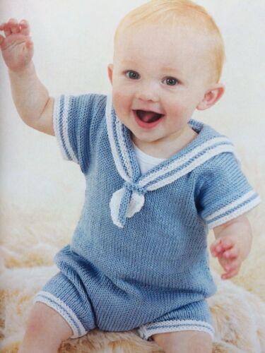 BK 5-Tejer patrón-Baby /'s Little Blue Sailor Suit//dk//0-24 meses