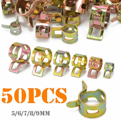 Spring Clip Fuel Water Line Hose Pipe Air Tube Clamp Fastener 5//6//7//8//9mm 50Pcs
