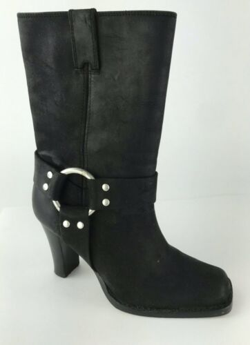 Michael Kors Black Leather High Heel Mid Calf Lug