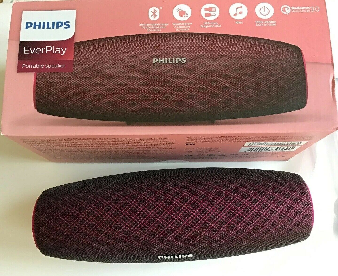 Philips EverPlay Wireless Portable Speaker Phillips Water Resistant Quick Charge