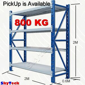 2m garage storage warehouse shelves shelving rack metal steel 800kg rh ebay com builders warehouse steel shelving Warehouse Storage Racks