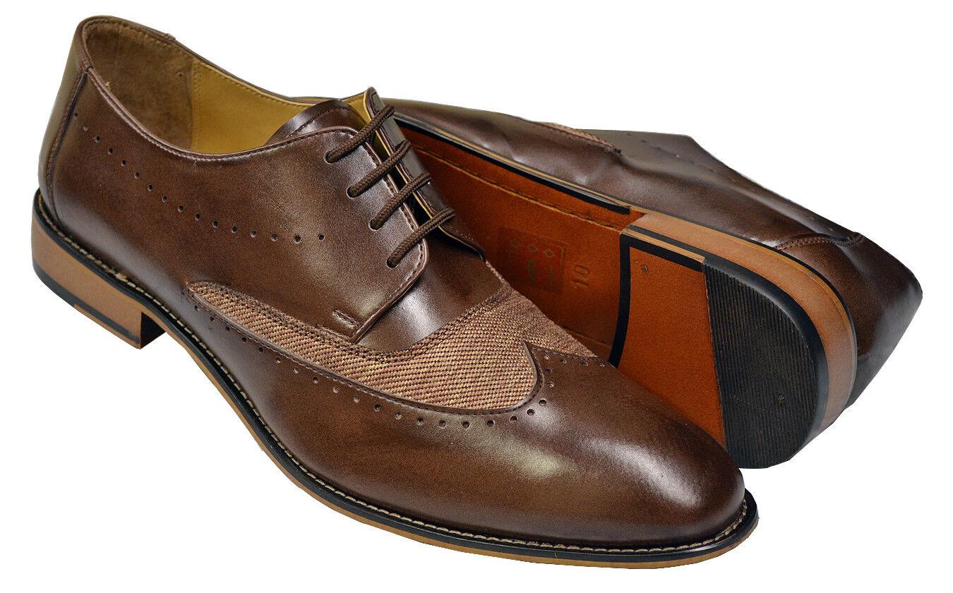 Liberty Brown/Tan Wingtip Derby PU Pelle/Fabric Burnish Brogue Shoes Size 10.5