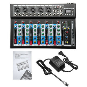 Details about 4/7 Channel bluetooth Studio Stereo Audio Mixer Mixing USB  Console Live KTV 48V
