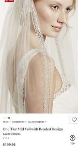 VCT258S David/'s Bridal 2-Tiered Veil w// Beaded Metallic Edging $199 IVORY