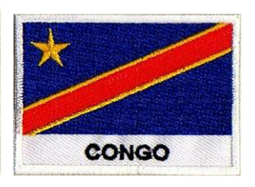 Patch écusson patche drapeau pays nations Congo 70 x 45 mm brodé