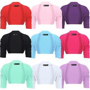 Girls-Ruched-Sleeve-Casual-Cropped-Bolero-Shrug-Kids-Plain-Cardigan-Top-3-14-Y