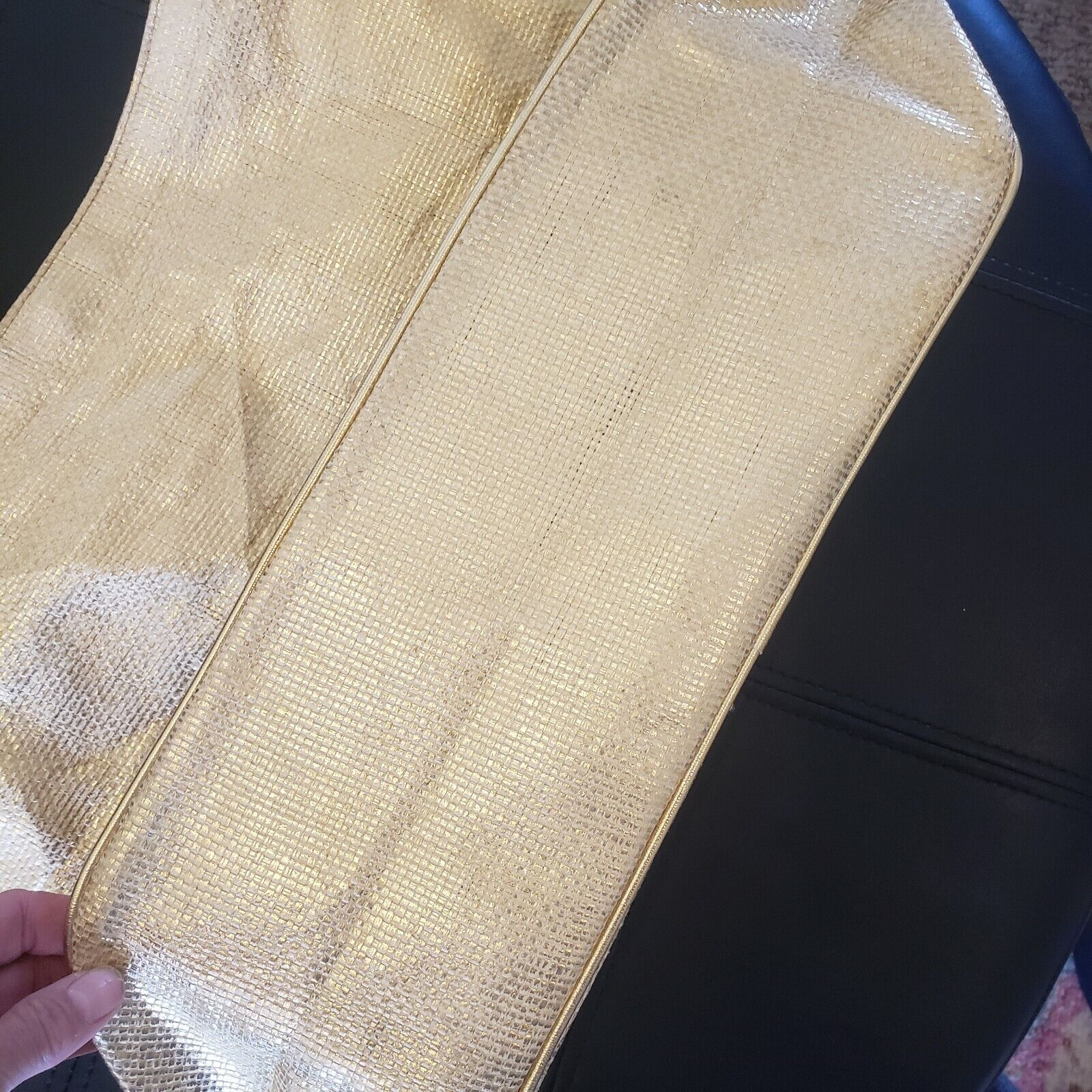 """""""QUEEN"""" Gold woven Lined Large Handbag by """"QUEE… - image 3"""