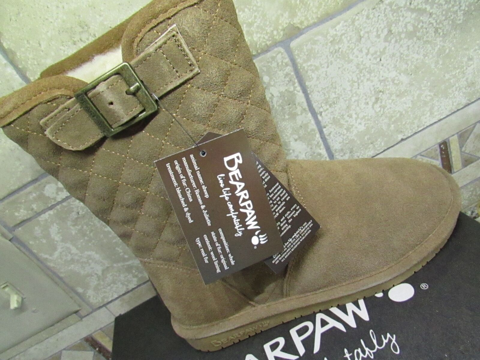 NEW BEARPAW LEIGH ANNE HICKORY SUEDE  MID BOOTIES BOOTS WOMENS 6