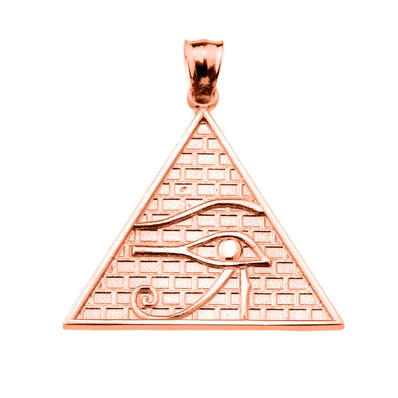 Solid pink gold The Eye of Horus Egyptian Pyramid Pendant