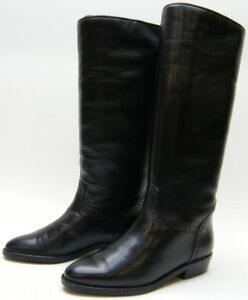 5df34d3d282 Details about WOMENS BRUNO MAGLI TALL BLACK FLAT INSULATED LEATHER RIDING  BOOTS SZ 36 USA 6