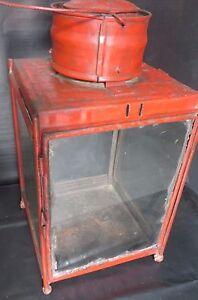 Vintage Porch hanging Post Lamp and Lighting Part Indian Railway platform Red