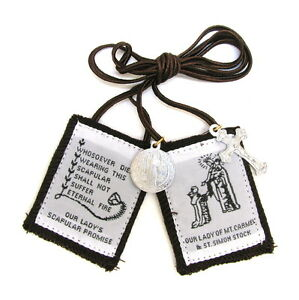 Scapular-Traditional-Our-Lady-Carmel-Brown-Scapular-100-Wool-amp-Medals-Catholic