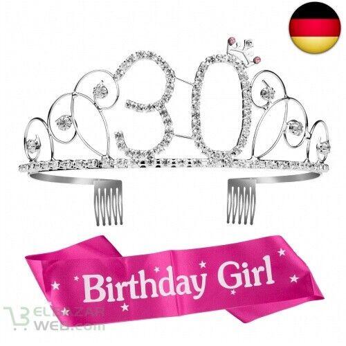 Geburtstags Kristall Tiara Krone mit 30 30 ZOEON Geburtstags-Krone 30