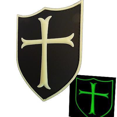 templar crusader's cross PVC 3D rubber glow dark GITD aufnäher fastener patch