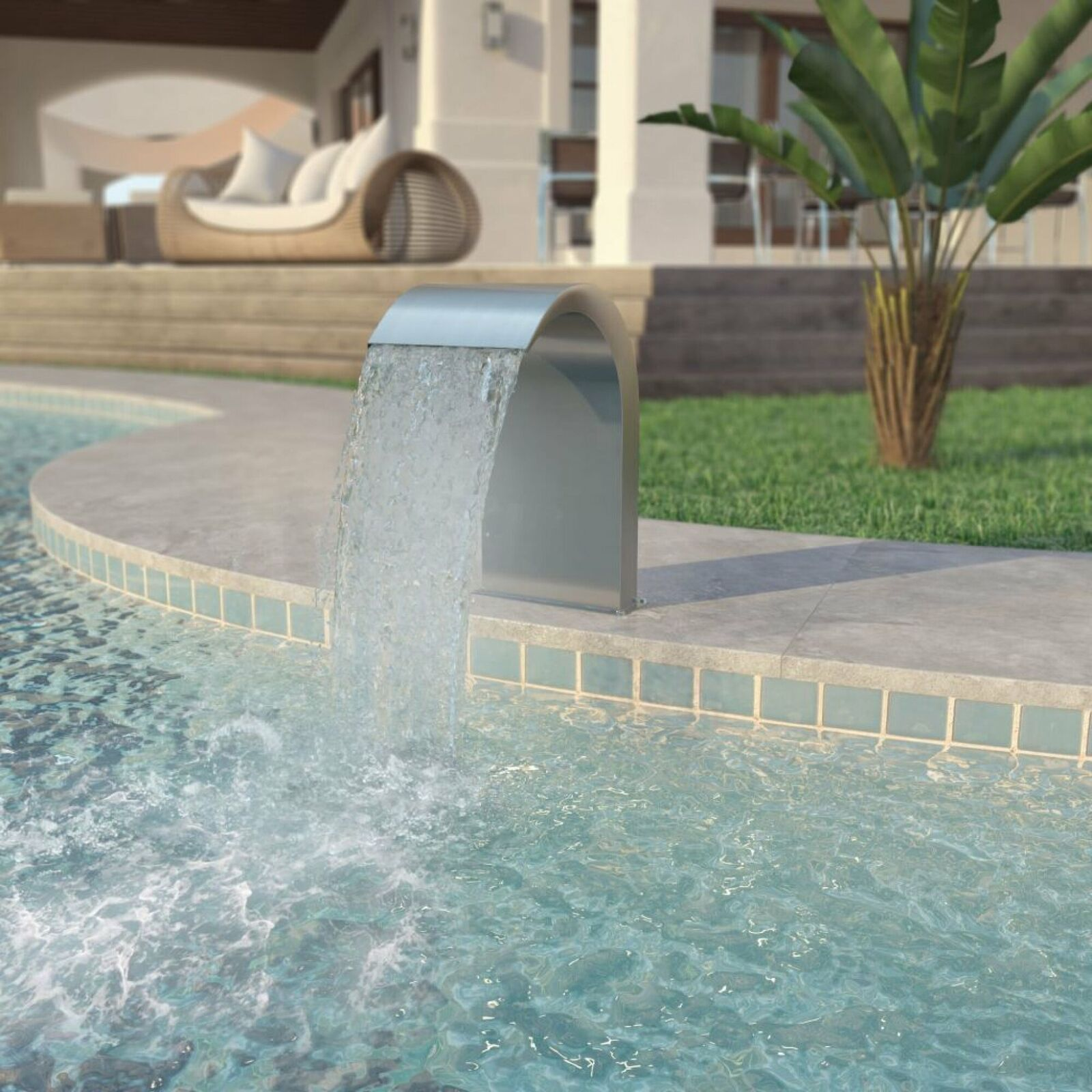 Cascade Stainless Steel Waterfall - Spillway Weir LED - Swimming Pool Spa Pond