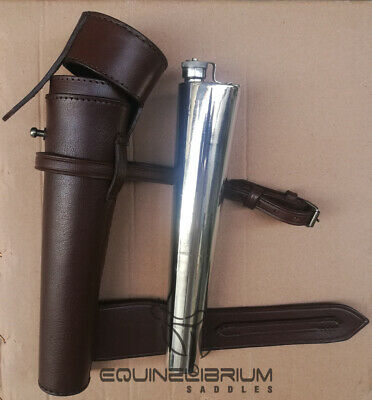 SADDLE HIP FLASK STEEL /& THICK COW LEATHER CASE BATON FOX HUNTING FREE P/&P