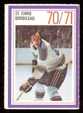 1970-71 ESSO POWER PLAYERS NHL 21 CHRIS BORDELEAU EX ST LOUIS BLUES UNUSED STAMP