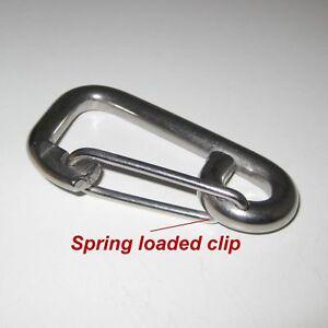 304-Stainless-Steel-Carabiner-x-1-M8-8mm-Length-80mm-Spring-Snap-Clip-Hook-key