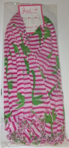 "Tropical Stripe Scarf Flamingo Palm Tree Pineapple New Blue Pink Green 27/"" x 70/"""