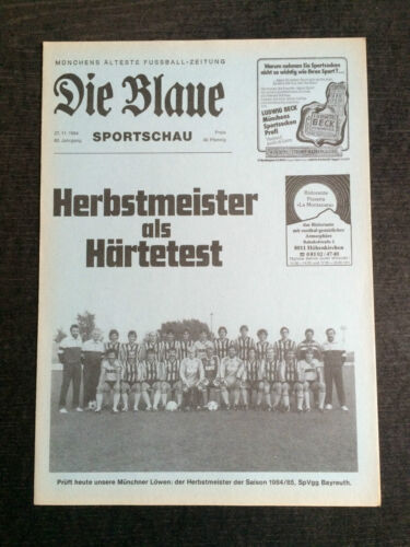 Bayernliga 84/85 TSV 1860 München SpVgg Bayreuth 27.11.1984