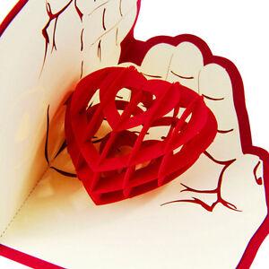 Heart-in-Hand-3D-Greeting-Card-Valentine-Anniversary-Birthday-Pop-Up-Postcard