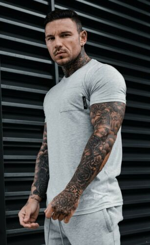 Homme Tee T Shirt Sik Hera Gym Muscle Fit soie King Fashion Decker Gris