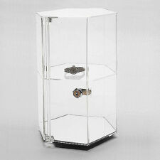 Acrylic Countertop Revolving Showcase Hexagonal W One Shelf 8 14 X 12 78h