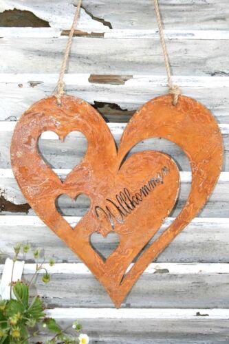 Precious Rust Hanger Heart Cottage Shabby Welcome 25cm Gartendeko Window Holding Cushion
