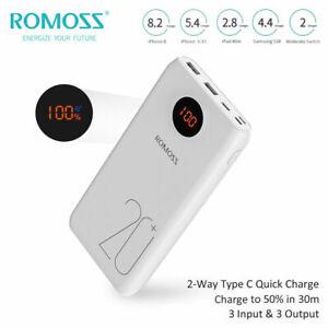 ROMOSS Power Bank 20000mAh USB QC3.0 Type-C 18W Portable Phone Battery Charger