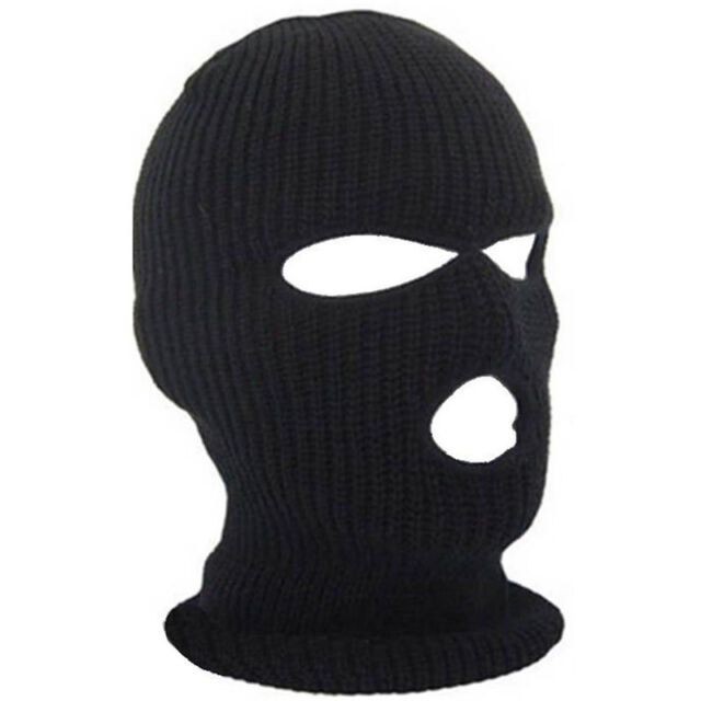 3Hole Ski Mask Balaclava Black Knit Hat Face Shield Beanie Snow Cap Winter  Warm 86191a9b2