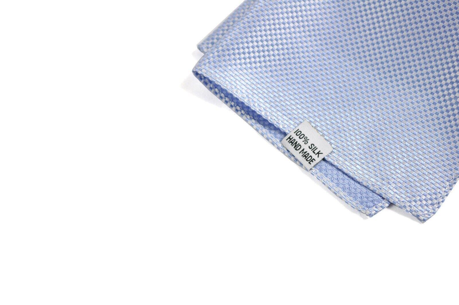 Men 100/% Silk Handmade Pocket Square Grids Pattern Wedding Hanky Handkerchief