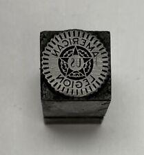 Vintage Letterpress Printers Block American Legion Zinc Plate Solid Metal