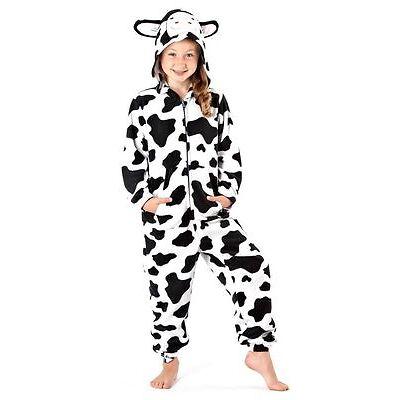 Kids Girls Hooded Fleece All In One Pyjamas Nightwear Jumpsuit FREE POST