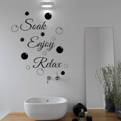 Soak Relax Enjoy Wall Vinyl Stickers /& Bubbles Decals Bathroom Home Art Decor
