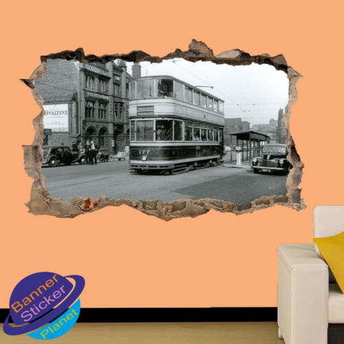 VINTAGE TRAMS IN SHEFFIELD 3D SMASHED WALL STICKER ROOM DECORATION DECAL MURAL