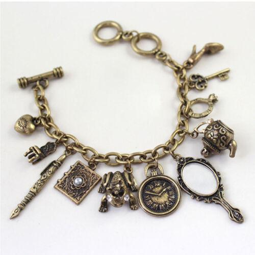 Fashion Charms Vintage Mini Mirror Frog Clock Bangle Multi Pendants Bracelet