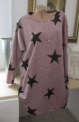 Kuschel Strick PULLOVER PULLI Long Kleid Oversize Bogenform Senf 46 48 50