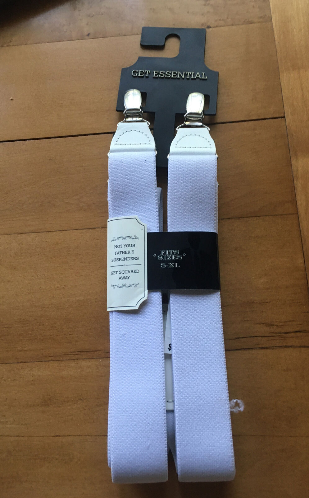 Mens White Suspenders Fits S-XL Solid Get Essential G30540 Dressy-or-Casual NWT