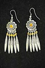 AZTEC SILVER DANGLING EARRINGS FLORAL MEDALLION EMBOSSED SILVER LEAVES (CL13)