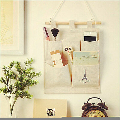 5 Pockets Organizer Retro Eiffel Tower Container Wall Door Hanging Storage Bag