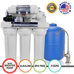 5 étape résidentiel Drinking Osmose Inverse Système avec pompe de gavage 100 GPD
