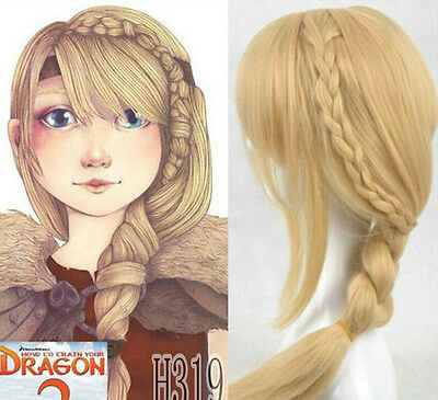 New Movie How To Train Your Dragon 2 Astrid Long Braid Cosplay Wig + gift
