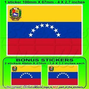 Stickers x4 50mm Autocollants 7 Star VENEZUELA Ancien Civil Drapeau