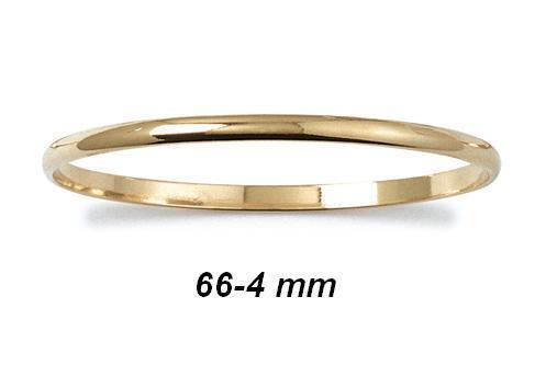 4 mm Plaqué Or 18K 5 Microns Dolly-Bijoux Bracelet Demi-Jonc Lisse 66-70 mm