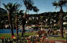 Ascona Tessin alte Postkarte 1966 gelaufen Partie am Lago Maggiore Grünanlagen
