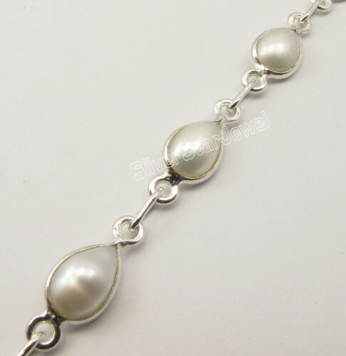 Argent Sterling .925 classic drop AAA FRESH WATER PEARL BRACELET 8 3//8 pouces