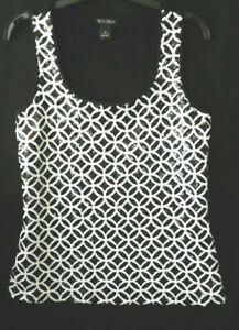 Details about WHITE HOUSE BLACK MARKET GEOMETRIC BLACK / WHITE SEQUIN TANK  TOP SIZE SMALL